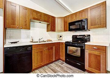 gabinetes, pretas, eletrodomésticos, cozinha