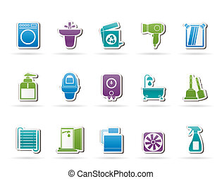 gabinetto, bagno, oggetti
