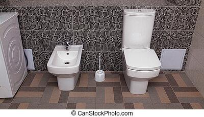 gabinetto, bianco, bidè, ciotola