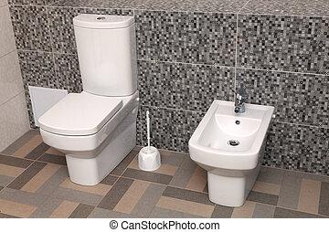 gabinetto, bianco, bidè, wc, ciotola