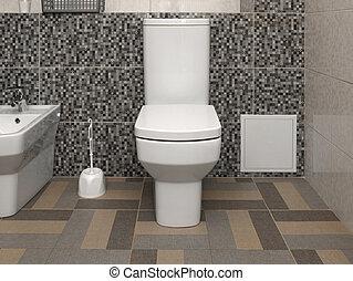 gabinetto, bianco, moderno, ciotola