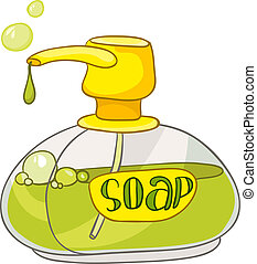 gabinetto, casa, cartone animato, sapone