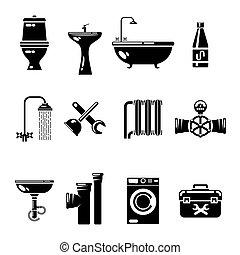 gabinetto, doccia, acqua, icons., tubo, vettore, lavandino, simboli, idraulica