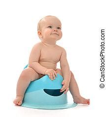 gabinetto, infante, seduta, vaso, ragazzo, sgabello, bambino, bambino primi passi bambino