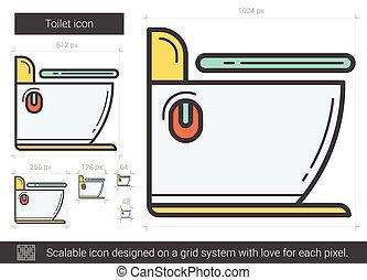 gabinetto, linea, icon.
