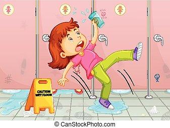 gabinetto, ragazza, scivolare, pavimento