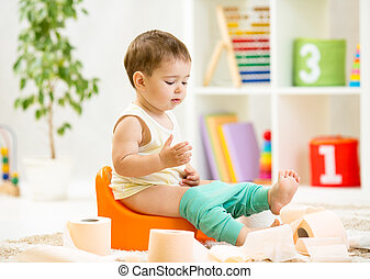 gabinetto, seduta, vaso, camera, carta, bambino, sorridente