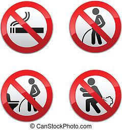 gabinetto, set, -, proibito, segni, adesivi
