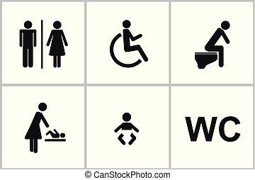 gabinetto, set, wc, icone, genere, handicappato, femmina, bambino, maschio, cambiamento