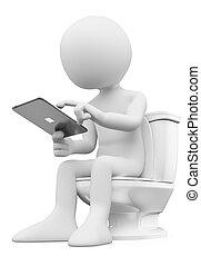 gabinetto, suo, tavoletta, seduta, persone., bianco, uomo, 3d