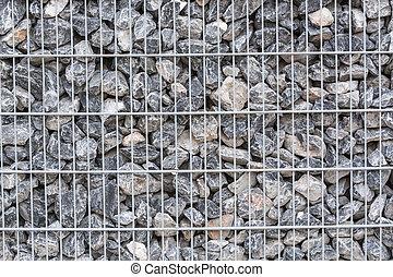 gabion, metallkorb, gefüllt, mit, dick, stones.