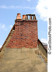 Gable end with chimneys