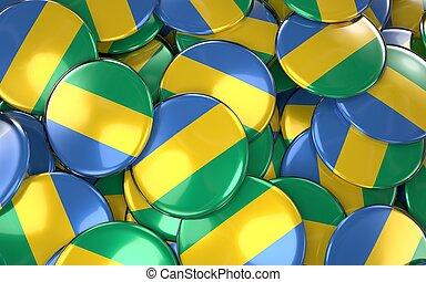Gabon Badges Background - Pile of gabonese Flag Buttons.