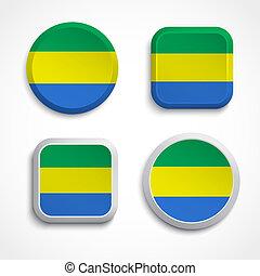 Gabon flag buttons