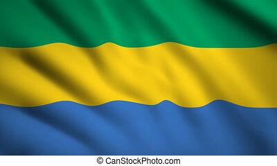 Gabon flag Motion video waving in wind. Flag Closeup 1080p HD footage