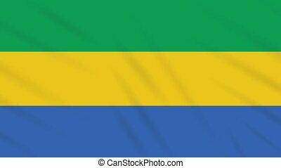 Gabon flag waving cloth background, loop