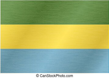 Gabon flag with title on the white background