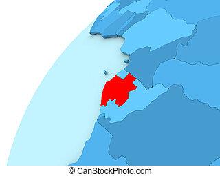 Gabon in red on blue globe