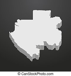 Gabon map in gray on a black background 3d
