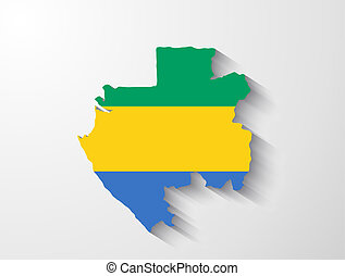 Gabon map with shadow effect