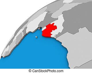 Gabon on 3D globe