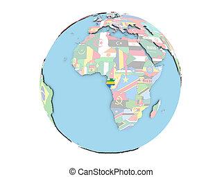 Gabon on globe isolated