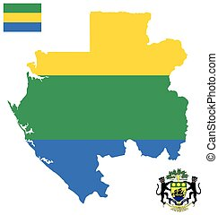 Gabonese Republic Flag - Flag and national coat of arms of...