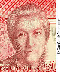 Gabriela Mistral (1889-1957) on 5000 Pesos 2009 Banknote from Chile. Chilean poet, educator, diplomat and feminist who was the first Latin American to win the Nobel Prize in Literature, in 1945.