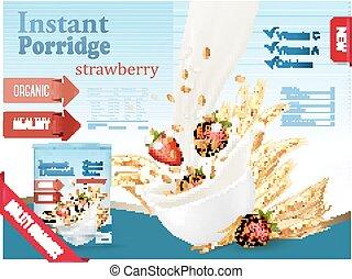 gachas de avena, instante, concept., tazón, anuncio, grano, vector., fluir, strawberry., leche