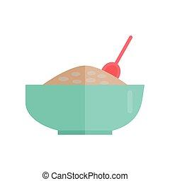gachas de avena, vector, illustration., cereal