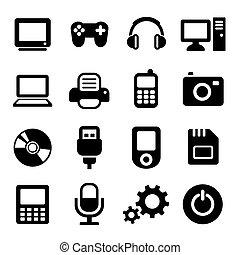 gadżet, multimedia, komplet, ikony