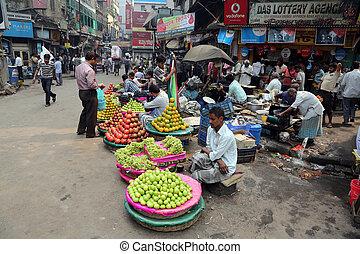 gade, handlende, afsætte, frugter, udendørs, ind, kolkata