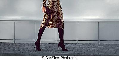 gade mode, begreb, -, stilfuld, herskabelig, kvinde, ind,...