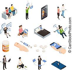 Internet smartphone gadget addiction isometric icons set with human characters electronic devices and addiction figurative pictograms vector illustration
