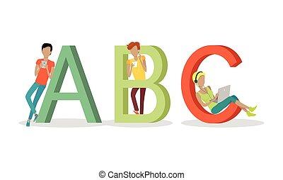 Gadget Alphabet. Letter - A B C - Gadget alphabet. Letter -...