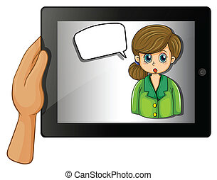 gadget, callout, possession main, girl, vide