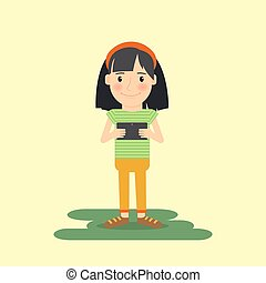 gadget, girl, tablette, jeune