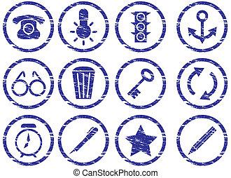 Gadget icons set. Grunge. White - dark blue palette. Vector...