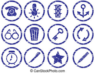 Gadget icons set. Grunge. White - dark blue palette. Vector illustration.
