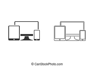 Gadget Line Icon Set. Devices Illustration As A Simple Vector