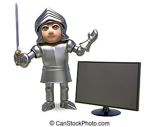 Gadget mad medieval knight in armour holding a typewriter, 3d illustration