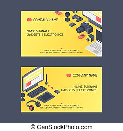 Gadget pattern vector business card digital device with display of laptop tablet camera isometric illustration backdrop set of electronic equipment headset smartphone business-card background