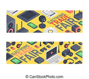Gadget pattern vector digital device with display of laptop tablet camera isometric illustration backdrop set of electronic equipment virtual headset smartphone headphone background