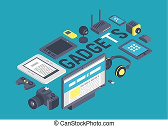 Gadget pattern vector digital device with display of laptop tablet camera isometric illustration backdrop of electronic equipment virtual headset smartphone headphone background