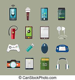 gadget, set, iconen