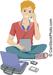 Gadget Teen - Illustration of a Male Teenager Surrounded by...