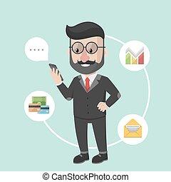 gadget, travail, homme affaires