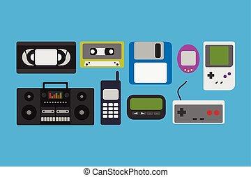 gadget, vecteur, icônes, 90s, illustration
