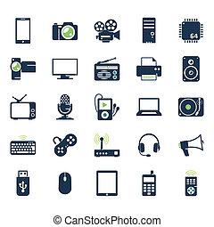 gadgets, électronique, ensemble, icônes