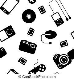 gadgets., électronique, seamless, fond, icône